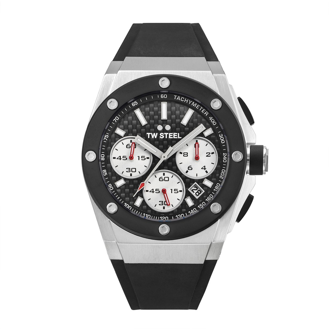 TW Steel Men s CEO Tech Stainless Steel Quartz Watch with Silicone Strap, Black, 30 Model CE4019