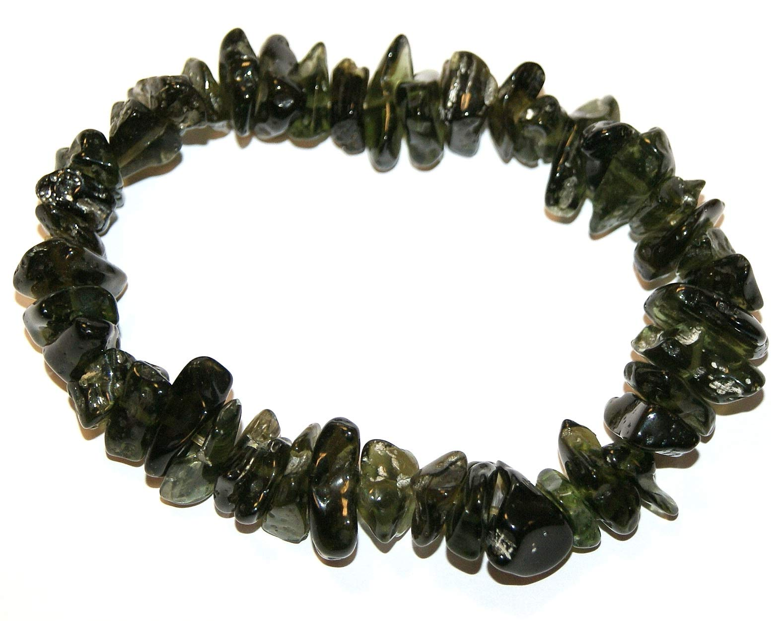 Moldavite Bracelet High Vibration Crystals Raw Polished 35.2 Grams by Gifts and Guidance
