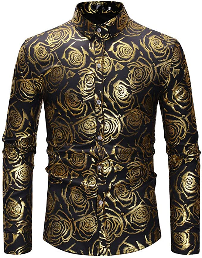 Rrive Mens Long Sleeve Gold Button Fashion Printed Luxury Shirt