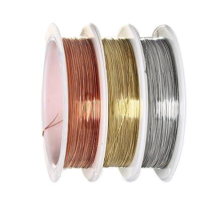 9b1bcc1b785e Alambre para cuentas, sicai 0,3 mm – Rollo de alambre de cobre para  abalorios joyería, resistente al desgaste, 3 piezas