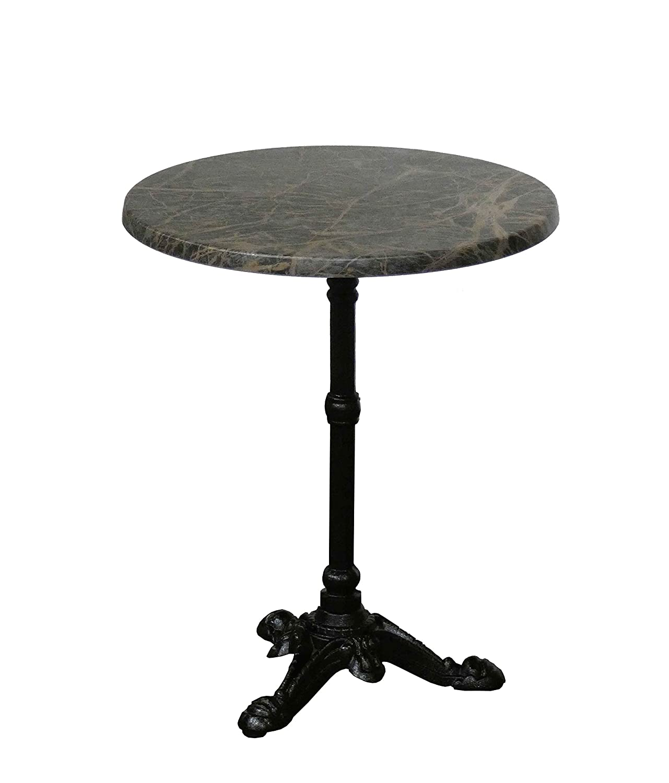 Mesa velador para bistrot Paris redonda de 60 cm en mármol negro ...