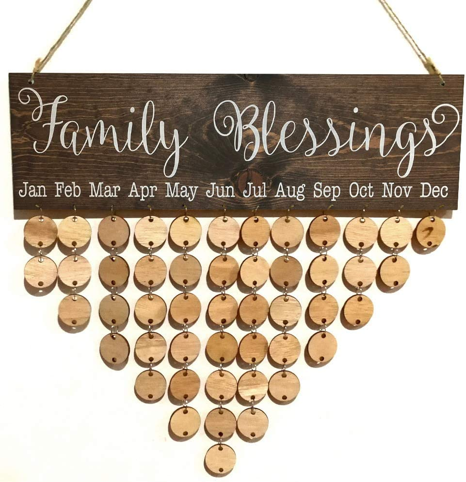 DZH Enjoy Wooden Family Blessings Calendar Plaque for Family and Friends Birthday Reminder Home Decor Wall Hanging Sign Board with 50 Pieces DIY Wood Heart Round Tags to Write on