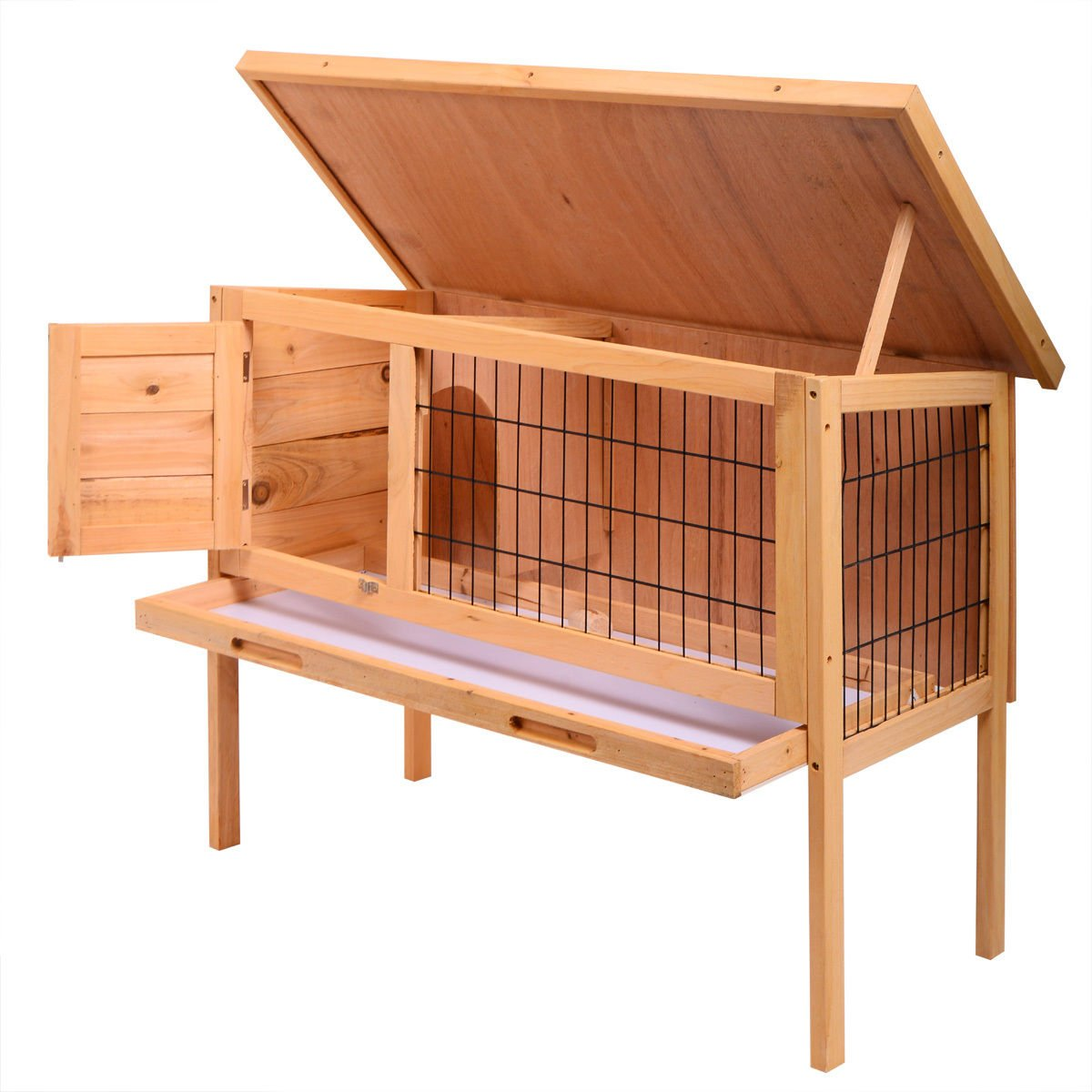 JAXPETY 35'' Wooden Chicken Coop Hen House Pet Animal Poultry Cage Rabbit Hutch w/Run