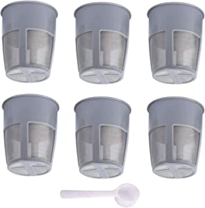 Podoy K250 Extra Reusable Coffee Inner Filter for Compatible with Keurig My K Cup 2.0 K300 K350 K375 K400 K450 K475 Universal Grey (Pack of 6) with Coffee Spoon