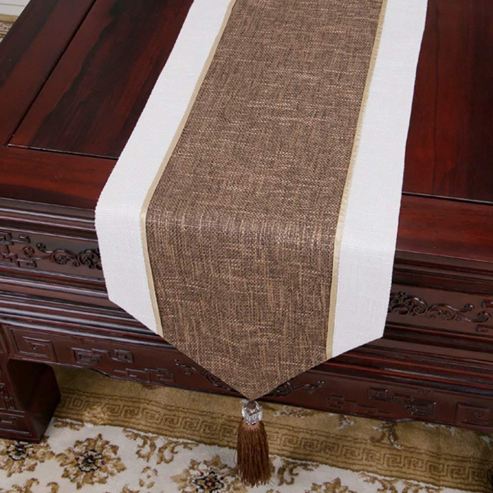 Shuangdeng コットンとリネンのブラウンとホワイトのカラーブロックホテルベッドサイドタオルシンプルなスタイル(利用可能150-300 * 30cm) (Color : Brown, サイズ : 30*300cm) 30*300cm Brown B07SBSJ5GJ
