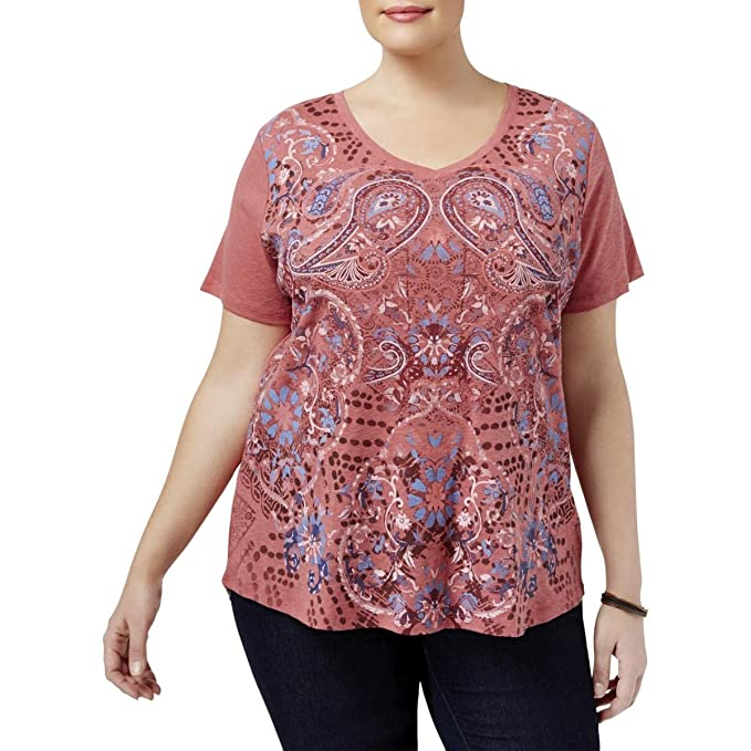 9ccf63f62 Style & Co. Plus Size Printed T-Shirt (Lipstick, 1X) at Amazon ...