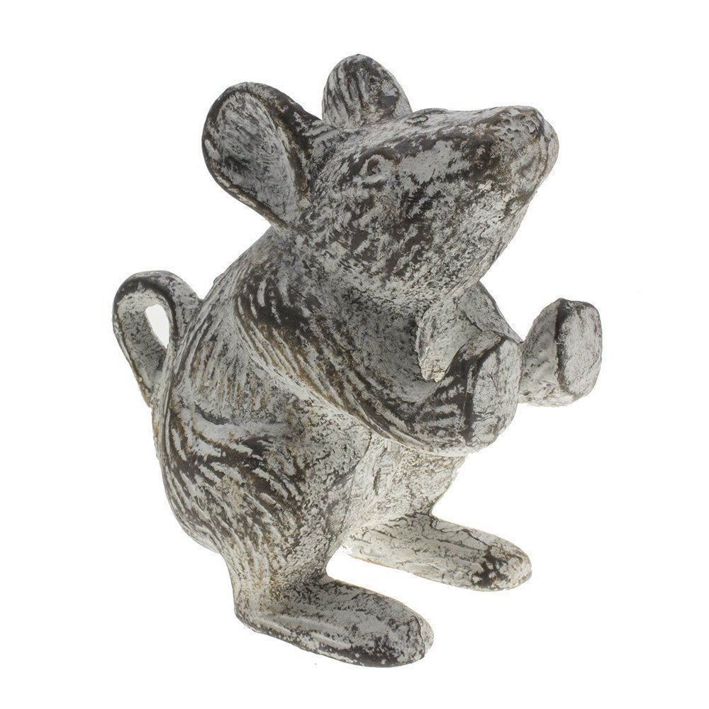 Cast Iron Mouse Decorative Door Stop - Heavy Door Wedge - Unique, Antique Design - Lovely Decorative Finish, Padded Anti-Scratch Felt Bottom - Book Stopper (Antique White)