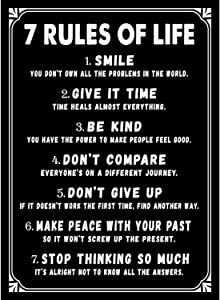 7 Rules of Life Motivational Poster 11 x 14 Inch - Inspirational Wall Art Print for Bedroom Home Office College Dorm Classroom Gym Workout & School Decoration