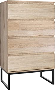 Homfa 4 Drawer Dresser, Wood Modern Storage Chest with Wide Drawer Space and Steel Legs, 23.6L x 15W x40H Inches Tall Drawer Chest End Table Cabinet for Home Office, Oak