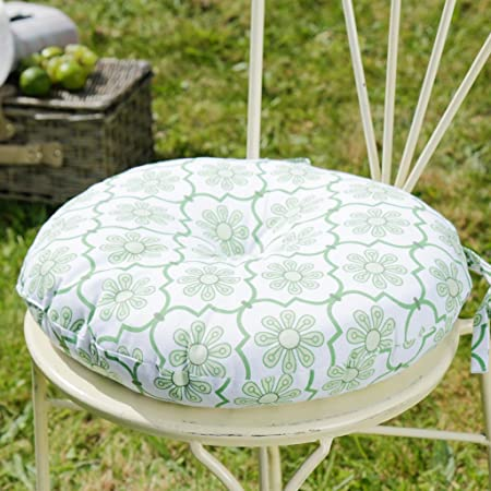 Surprising 100 Cotton Retro Round Botanical Green Leaf Seat Pad With Unemploymentrelief Wooden Chair Designs For Living Room Unemploymentrelieforg