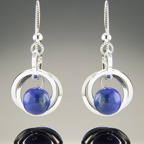 Amazon.com  Dainty Argentium Sterling Silver Blue Lapis Lazuli Real  Gemstone Dangle Earrings  Handmade cfc47ef290