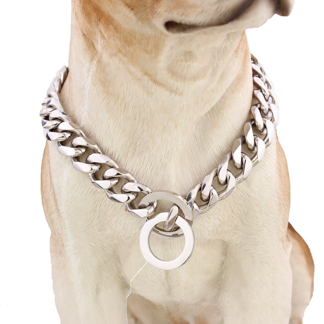 22 inch Pet Online Dog collar mirror polished stainless steel p chain titanium steel chain necklace pet dog training leash Tow Collar 12mm,22