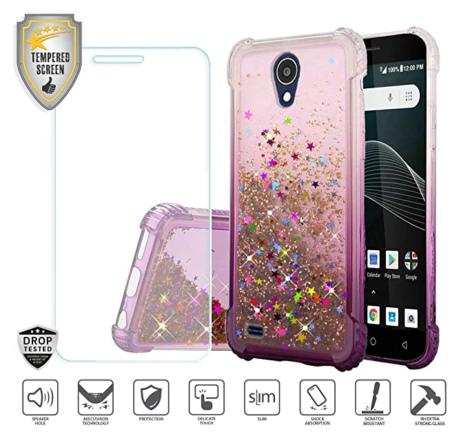 reputable site 05326 93f3b Compatible for At&t Axia QS5509a Case, Cricket Vision Case, with Tempered  Glass Screen Protector, Premium Design Case for Women Girl Liquid Water ...