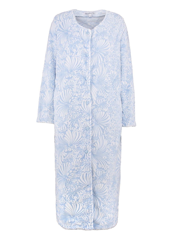 b9a37f8bfc Slenderella Ladies Floral Jacquard Dressing Gown Button up Super Soft Fleece  Bath Robe XL (Blue)  Amazon.co.uk  Clothing
