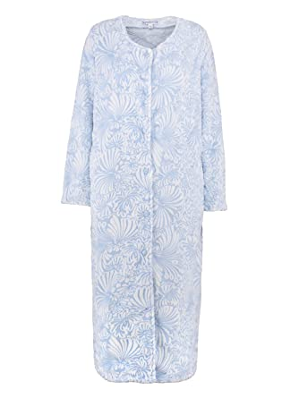 76436f901f Slenderella Ladies Floral Jacquard Dressing Gown Button up Super Soft Fleece  Bath Robe XL (Blue