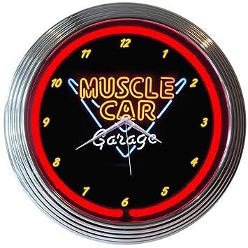 Amazoncom Neonetics Muscle Car Garage Neon Wall Clock 15Inch