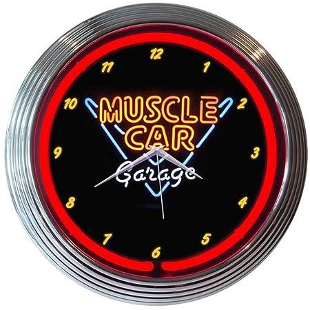 Neonetics Muscle Car Garage Neon Wall Clock, 15-Inch