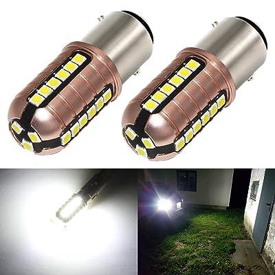 Phinlion 2057 LED White Bulb 3000 Lumens Super Bright 3030 27-SMD BAY15D 7528 2357 1157 LED Bulbs for Back Up Reverse DRL Brake Stop Tail Lights, 6000K Xenon White: Automotive