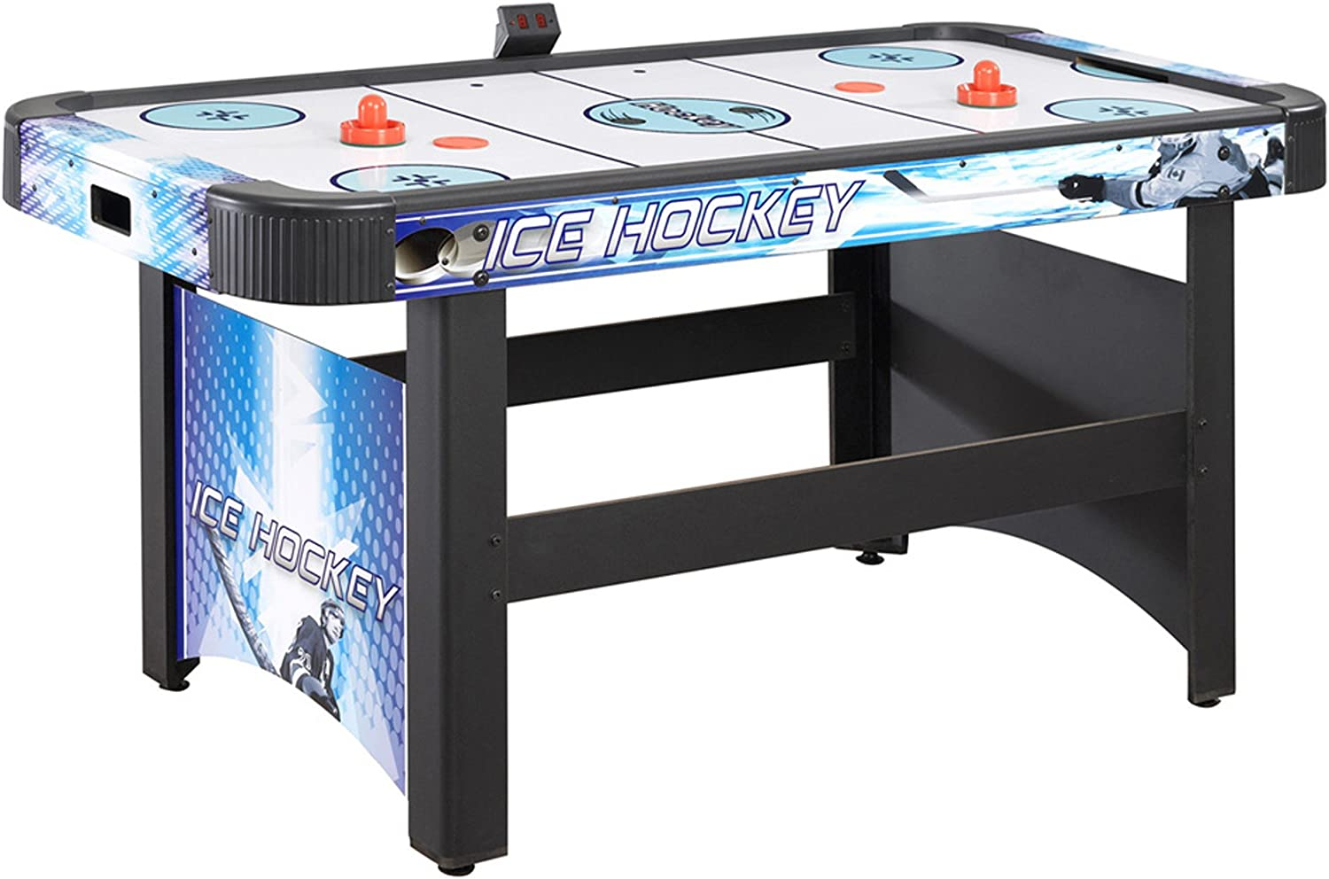 Pucks and Strikers Face-Off 5 ft Air Hockey Game Table with Electronic Scoring