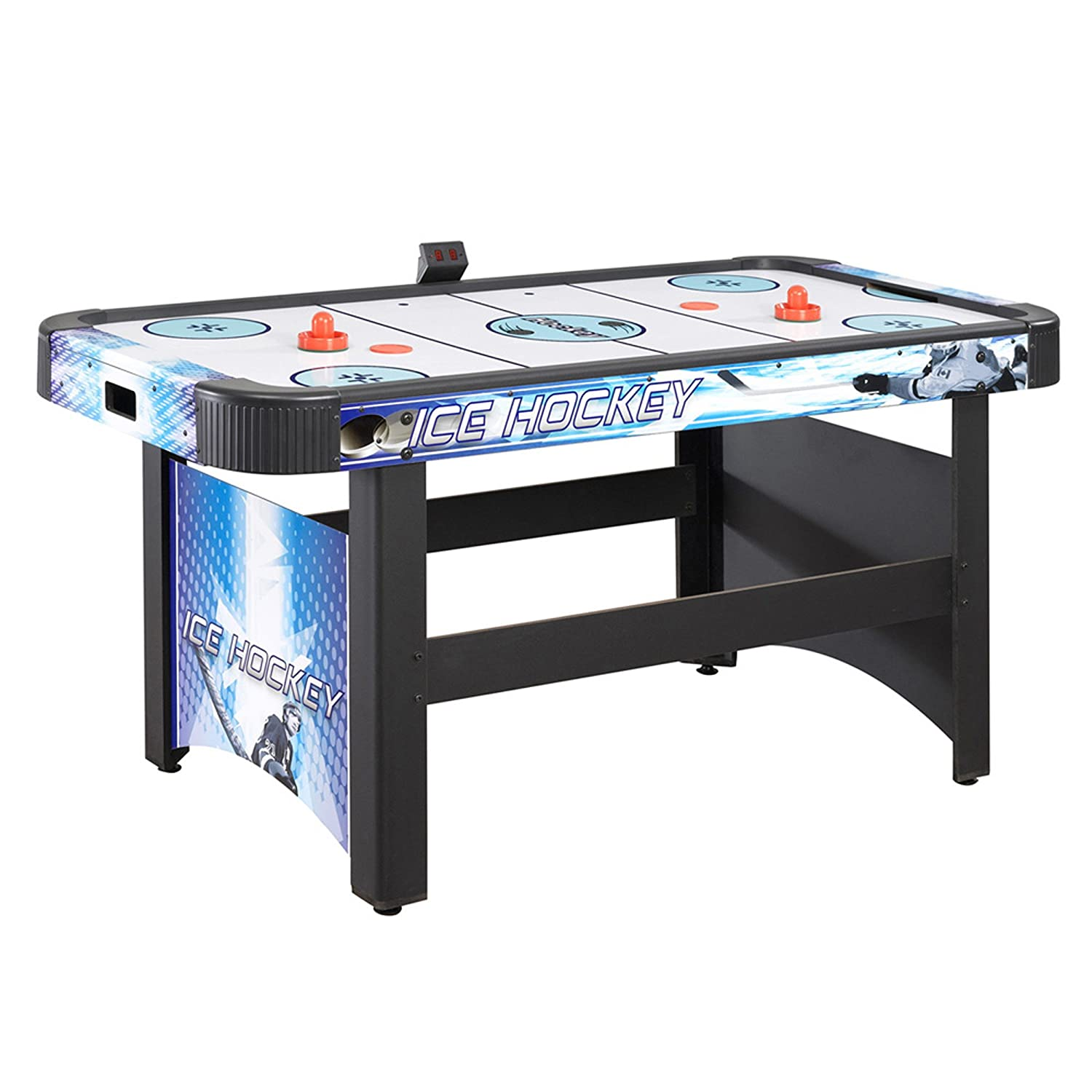 Amazon hathaway face off 5 foot air hockey game table family amazon hathaway face off 5 foot air hockey game table family game rooms electronic scoring free pucks strikers air hockey equipment sports greentooth Images
