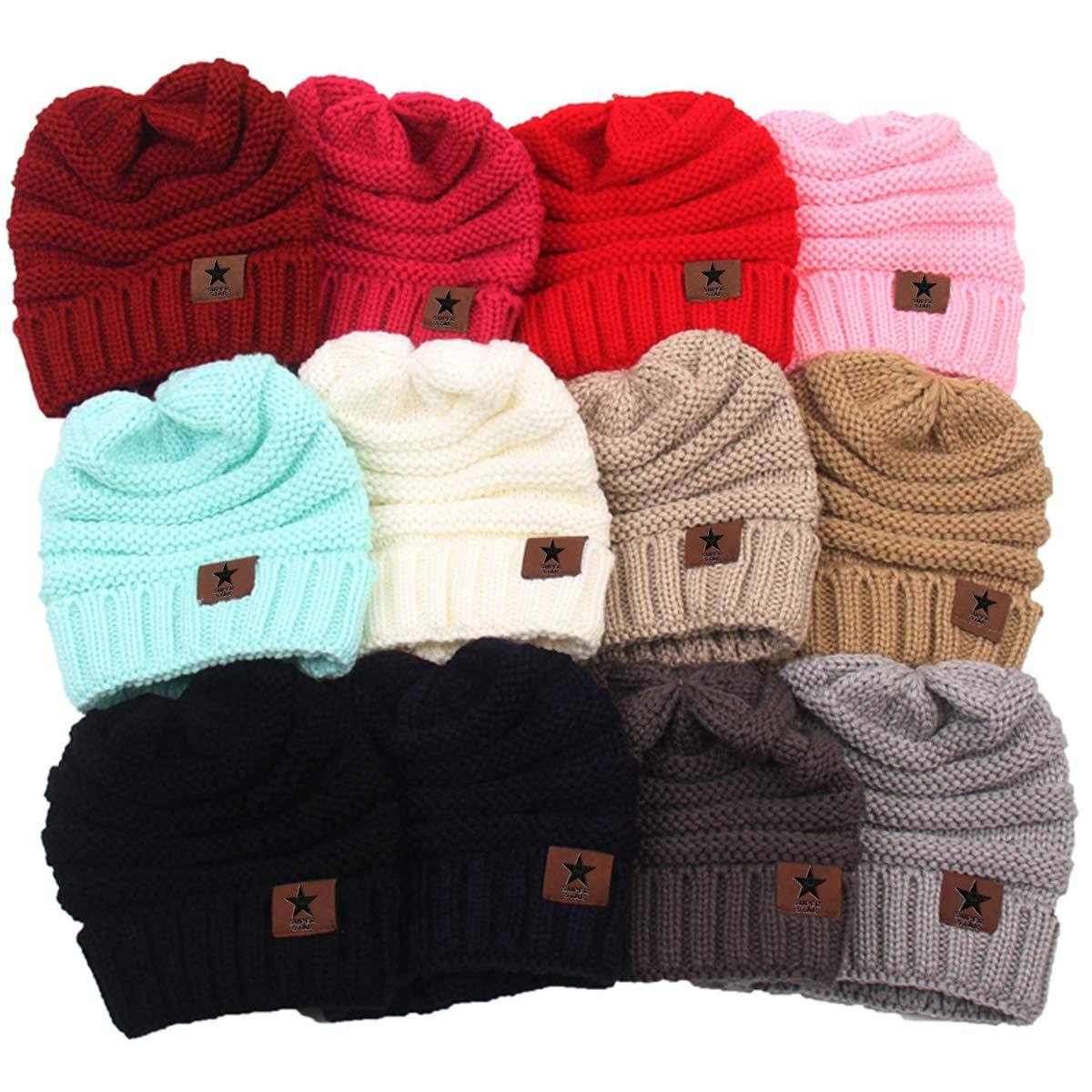 Azue Kids Winter Hats Newborn Baby Warm Knit Lined Caps Toddler Children Beanies