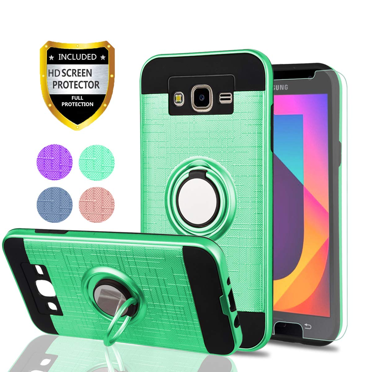 Galaxy J7 2015 Case,J7 NEO Case with HD Phone Screen Protector,YmhxcY 360 Degree Rotating Ring /& Bracket Dual Layer Resistant Back Cover for Samsung Galaxy J7 J700 2015-ZH Rose Gold