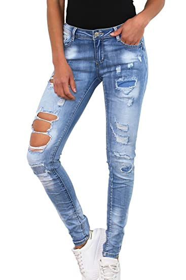 Simply Chic Damen Jeans Stretch Hose Destroyed Skinny