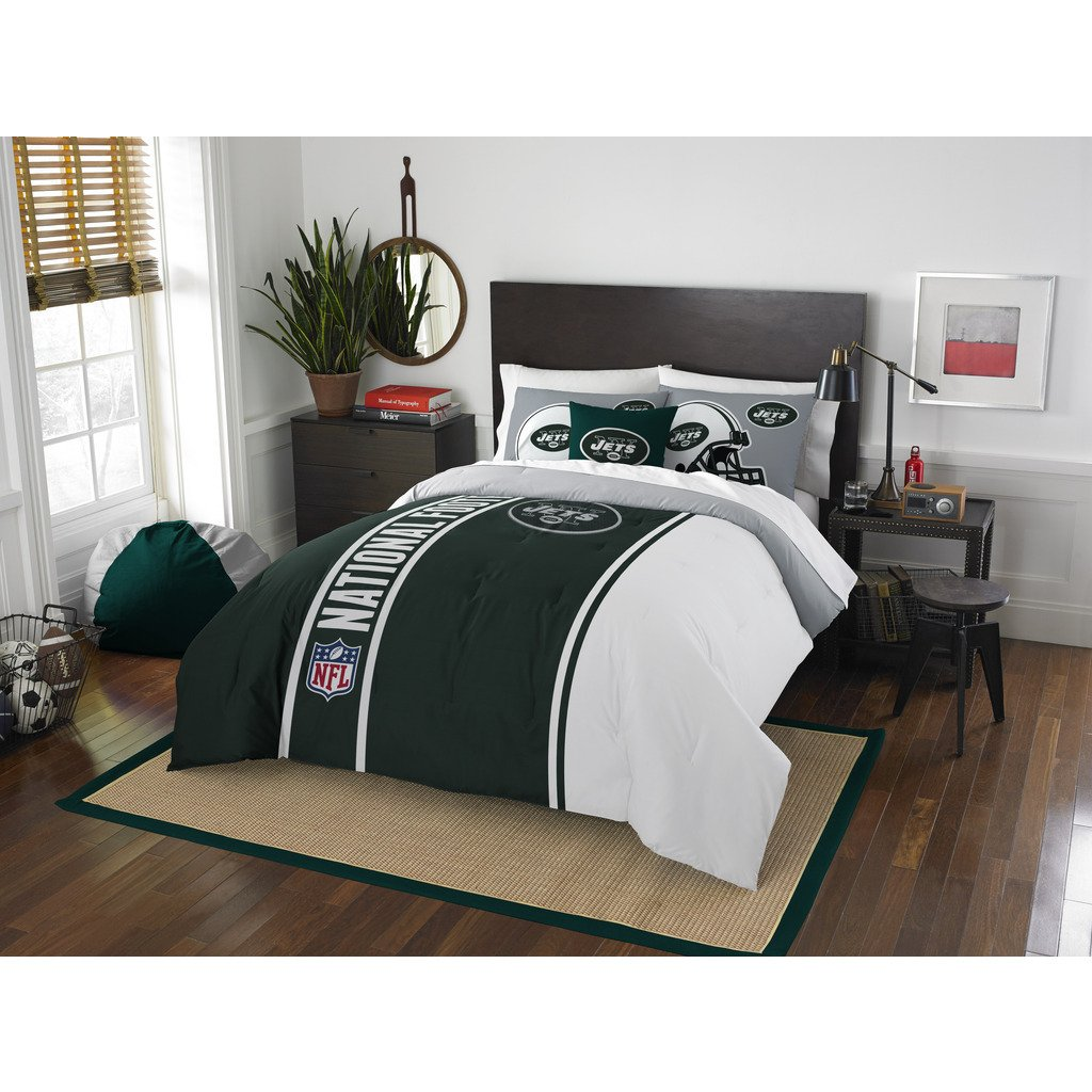 New York Jets Comforter Set Bedding Shams NFL 3 Piece Full Size 1 Comforter 2 Shams Football Linen Applique Bedroom Decor Imported Sold byMBG.4u.