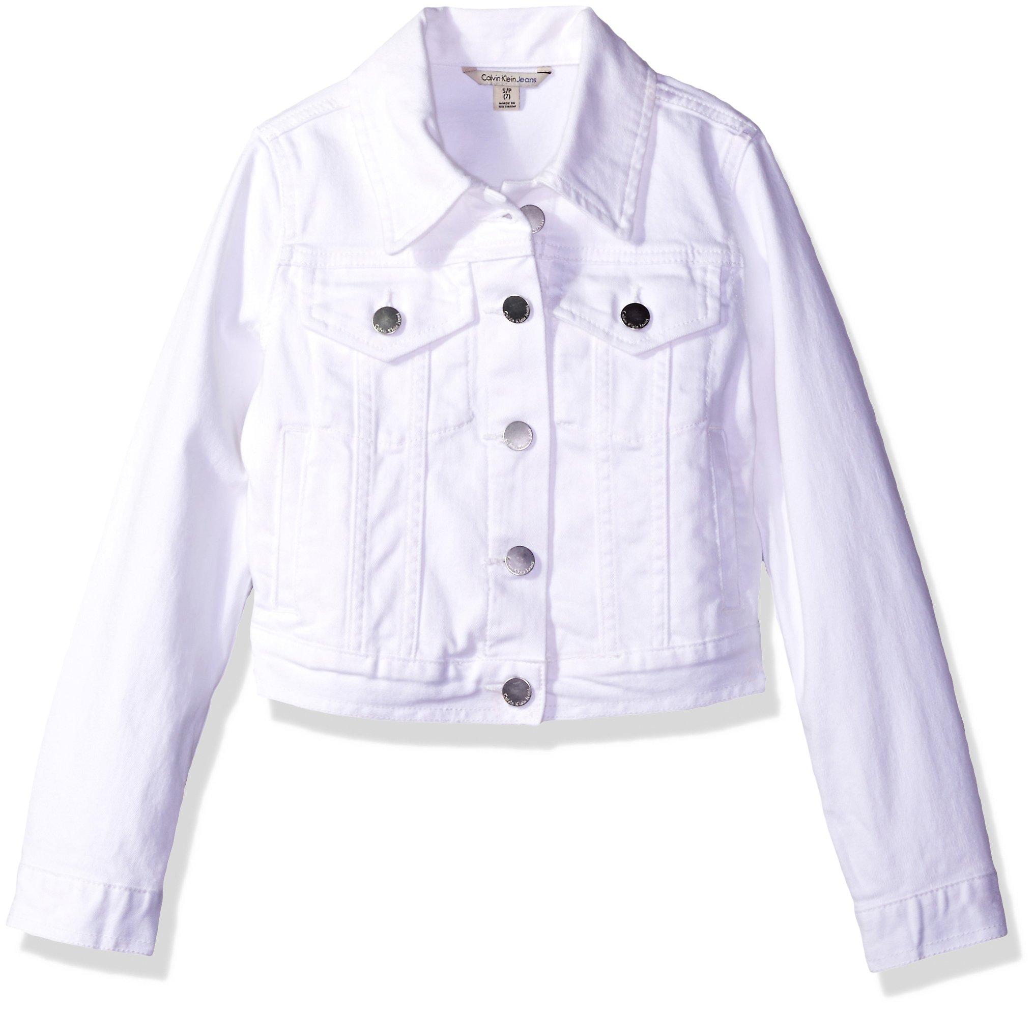 Calvin Klein Girls' Big Denim Jacket, Whiteout, X-Large (16) by Calvin Klein