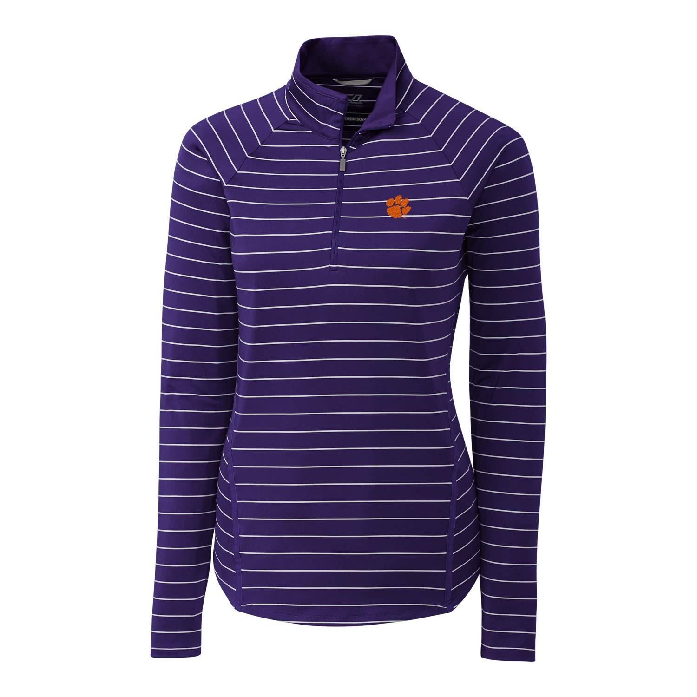 College Purple Large NCAA Womens Long Sleeve Pencil Stripe Evie Half Zip