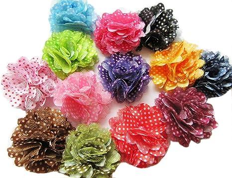 "3 pieces Black 1.5/"" satin petal flower //DIY headband /& bows"