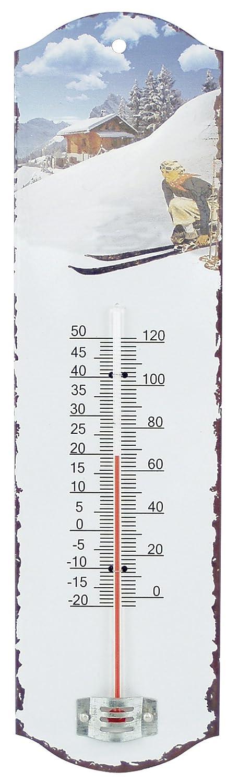Générique 514 Skieuse termometro da Parete, in Ferro, Colore: Bianco, 7 x 26 x 1 cm Tradewinds