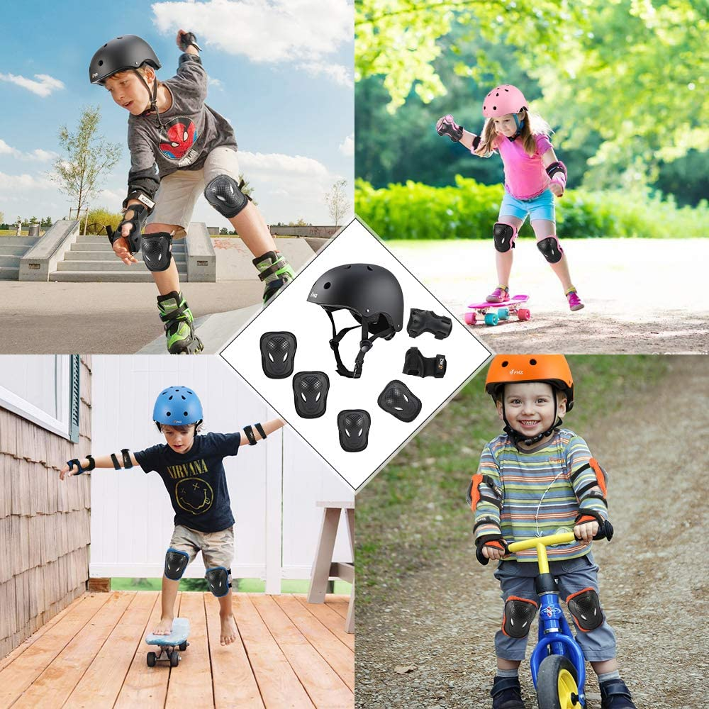 PHZ Sport Protective Gear Set Knee Elbow Wrist Pads for Roller Skating Skateboard BMX Scooter Kids Adjustable Bike Helmet Toddler Helmet for Kids 3-8 Years Girls Boys