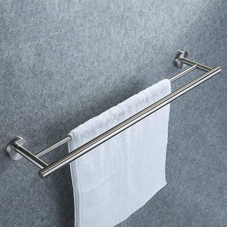 Doppelter Handtuchhalter, Dailyart Badezimmer Handtuchstange Bad Ohne  Bohren für Wandmontage - Handtuchhalter zum Kleben Einfache Montage,  Edelstahl, ...