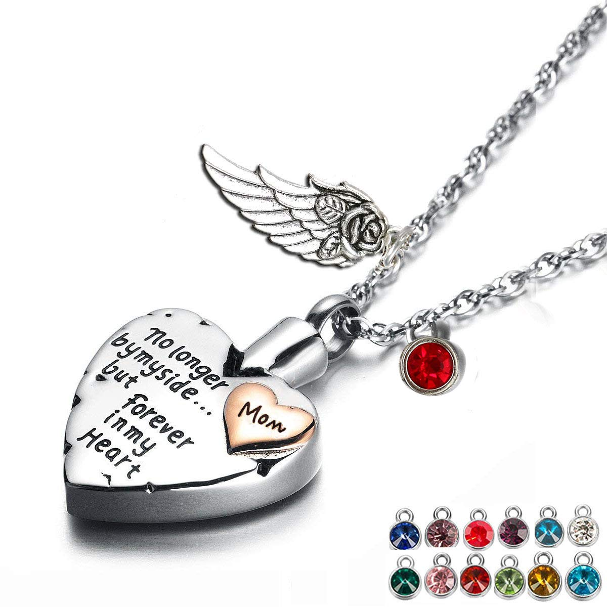 Heart Cremation Urn Necklace for Ashes Urn Jewelry Memorial Pendant with Fill Kit and Gift Box - Always on My Mind Forever in My Heart (Mom) by AZpet (Image #1)