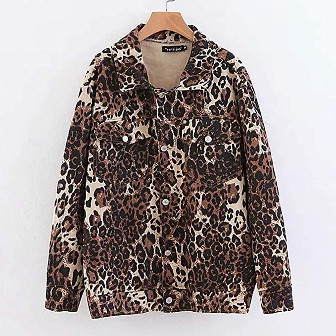 JOFOW Womens Jackets, Animal Leopard Print Shirt Front Thin ...