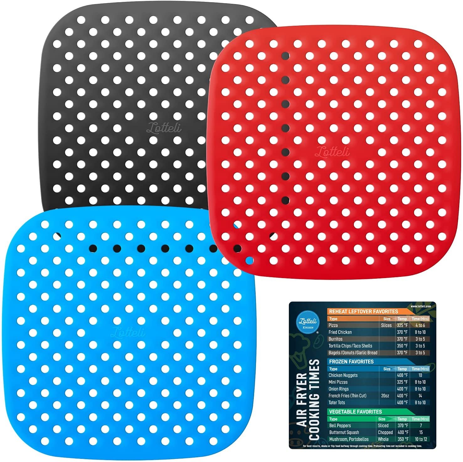 Lotteli Kitchen Reusable Silicone Air Fryer Liners 3 Pack with Air Fryer Magnetic Cheat Sheet, Easy Clean Air Fryer Accessories, Non Stick, AirFryer Accessory Parchment Paper Replacement - 8.5
