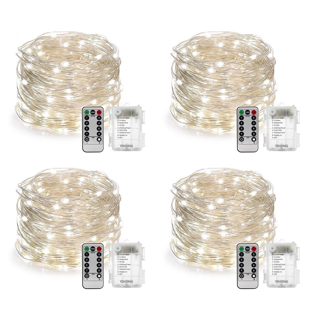 YIHONG 4 Set String Lights Battery Operated Fairy Lights Waterproof 8 Modes 16.4FT 50 LED String Lights Twinkle Fairy Lights with Remote Timer for DIY Bedroom Wedding Easter Party Decor-Daylight White by YIHONG