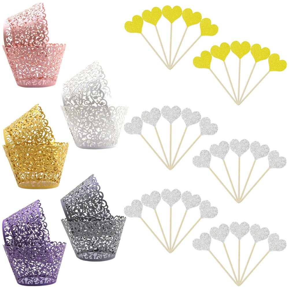YuCool 100pcs 5 Colors Cupcake Wrapper Lace Laser Cut Filigree Cupcake Wraps Liner Baking Cup and 30 pcs Heart Shape Decoration Sticks (Multicolor)