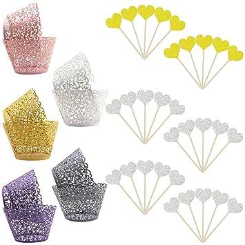 100 piezas de encaje para cupcakes, yuCool 5 colores corte láser filigrana para cupcakes,