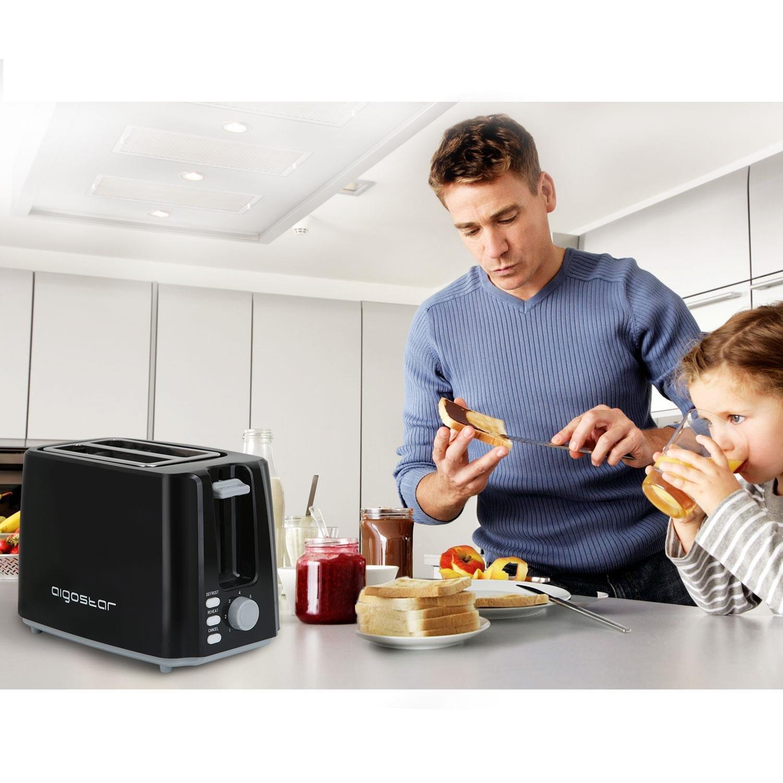 850 W couleur noir Grille-pain 2 fentes Aigostar Brotchen Black 30HIL Fonction d/écongeler et maintenir au chaud Sans BPA temp/érature r/églable Design exclusif.