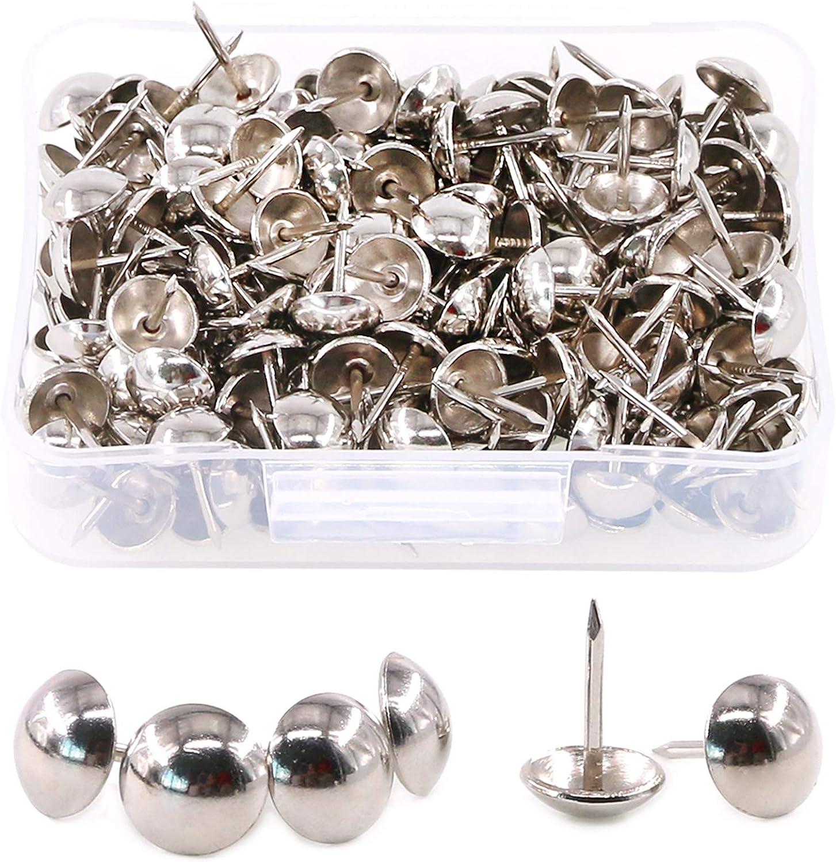 Hilitchi 200-Pieces 7/16''(11mm) Silver Antique Tacks Nail Pins Upholstery Nail Tacks Furniture Thumb Tack Pins Assortment Kit (Silver)