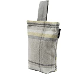 McAlister Heritage Plush Plaid Unfilled Decorative Door Stopper Wedge | 8x6 Yellow Gray | Rustic Farmhouse Decor Cabin Accent