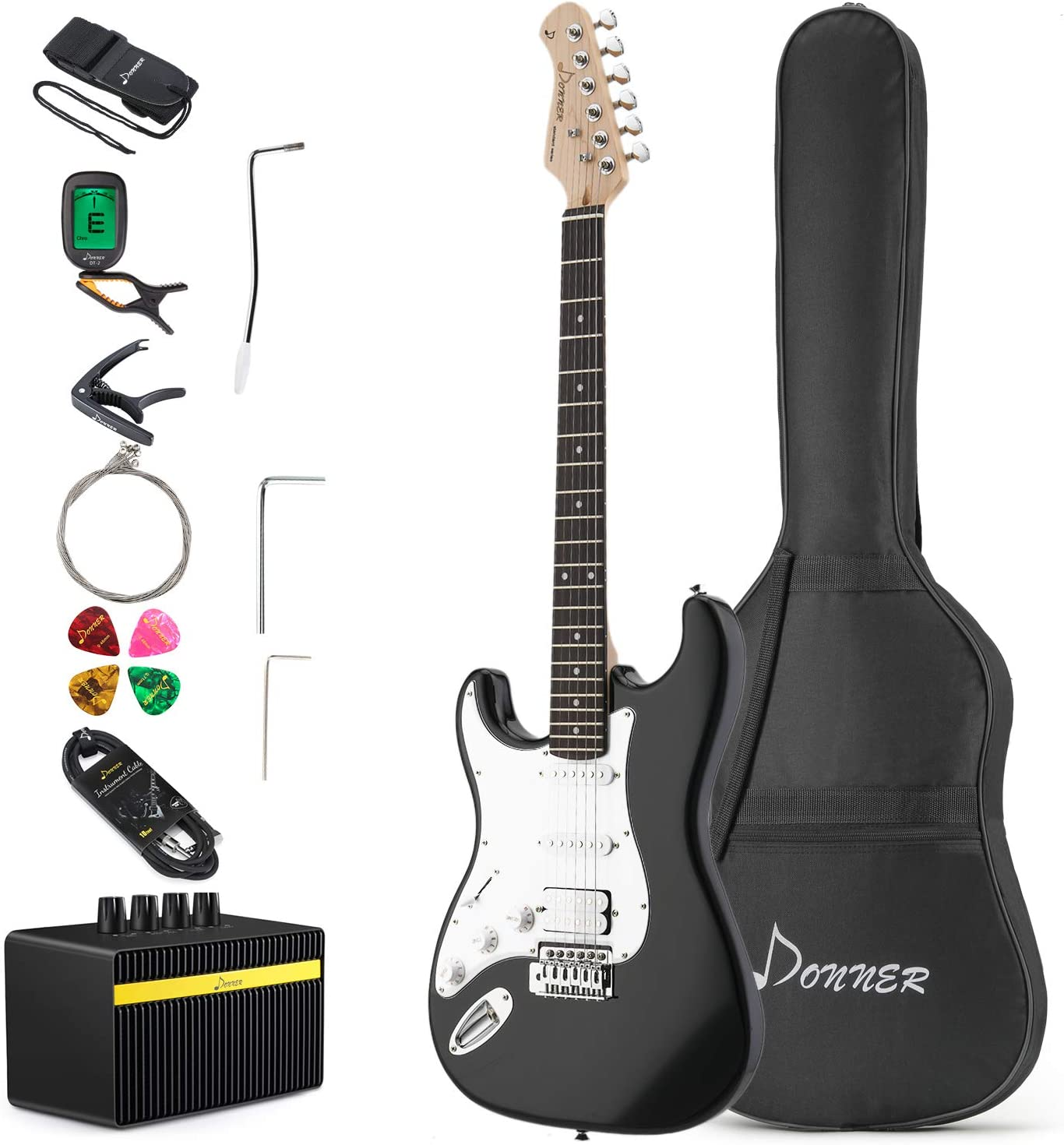 Donner DST-1BL Solid Body 39 Inch Full-Size Left Handed Electric Guitar Kit Beginner Black, Starter, with Amplifier, Bag, Capo, Strap, String, Tuner, Cable, Picks