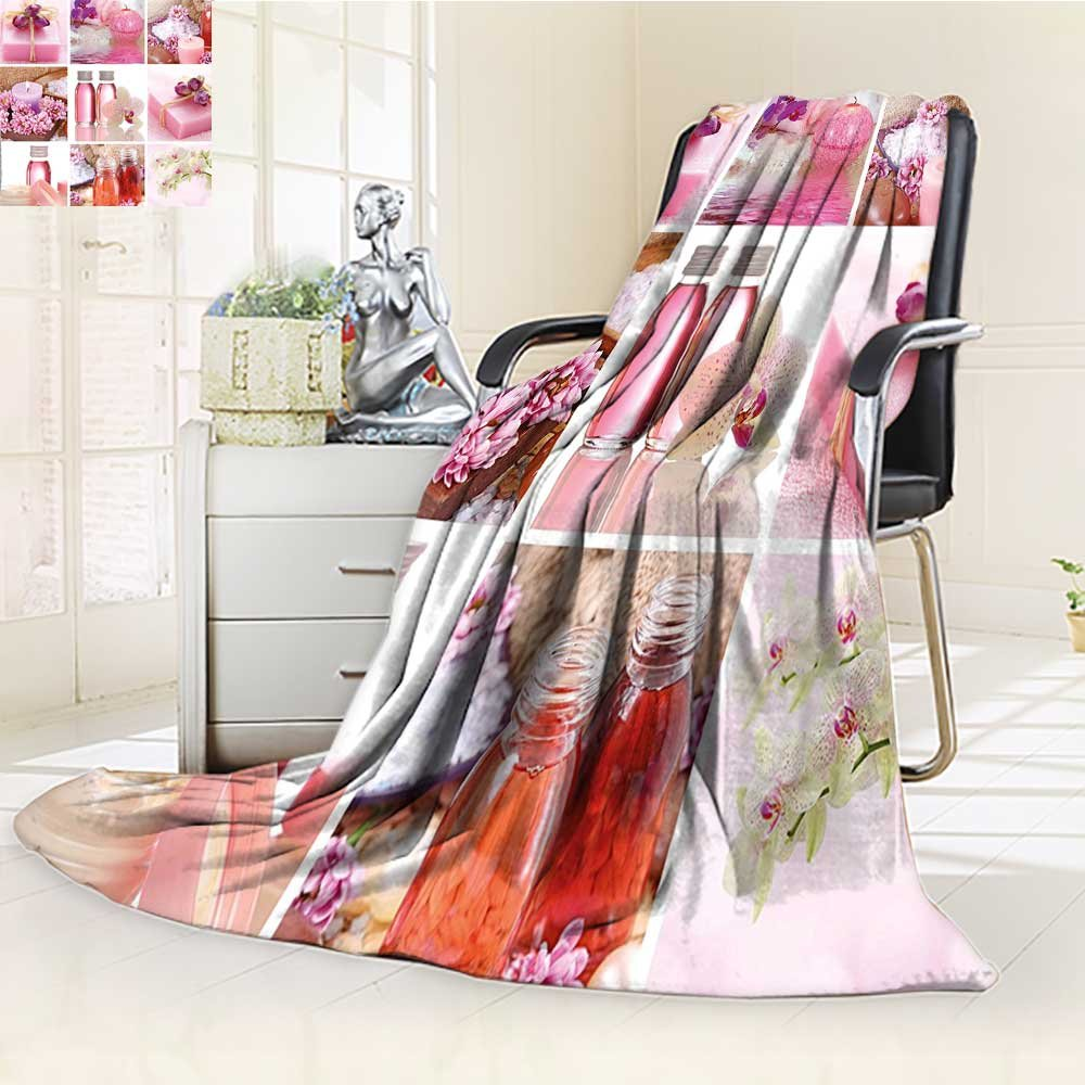 YOYI-HOME Duplex Printed Blanket Custom Design Cozy Fleece Blanket Spa Flowers Pink Gift Wraps Tiny Scent Bottles and Candles Image Collage Lillium Pink and White Perfect for Couch Sofa/W86.5'' x H59