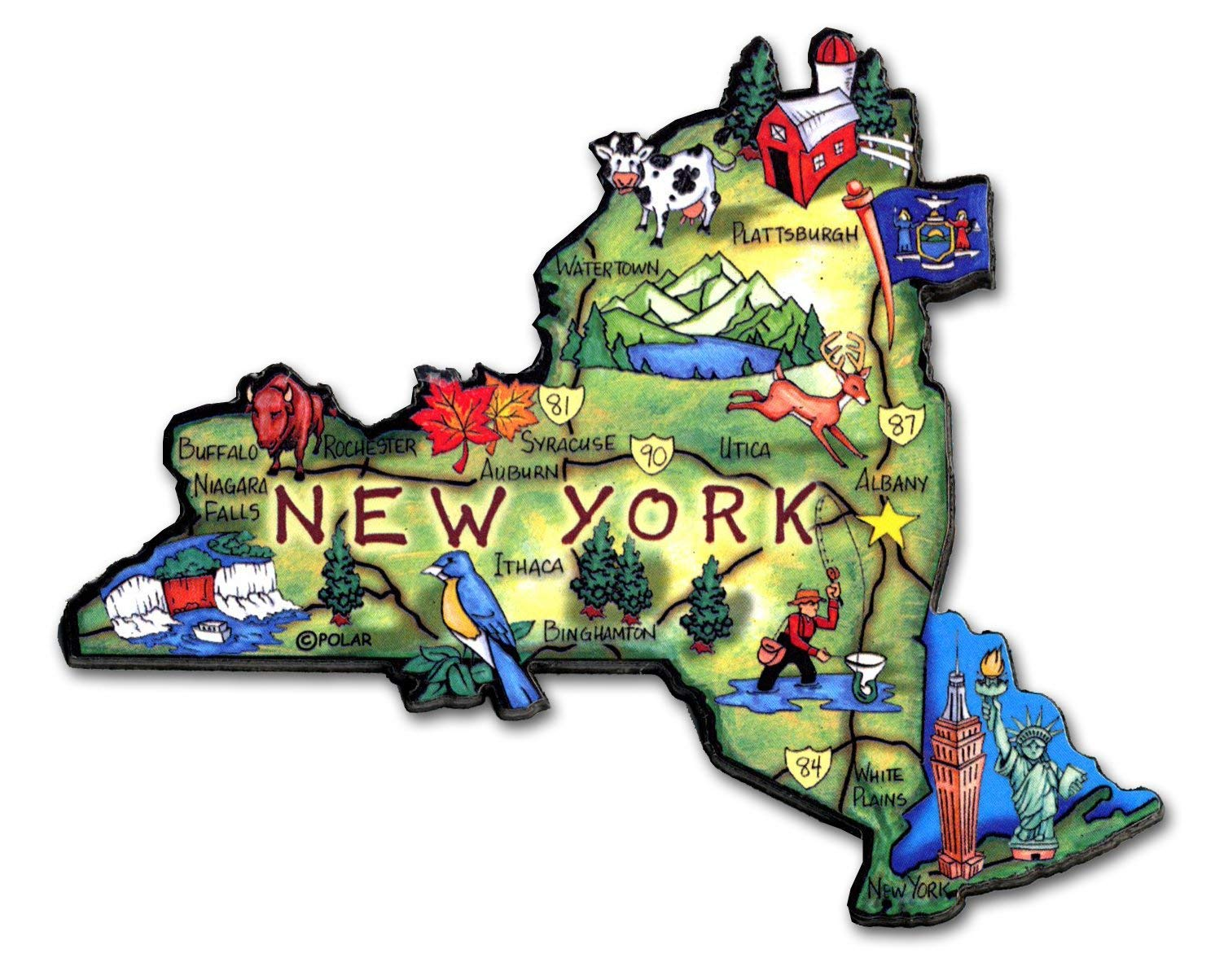New York the Empire State Artwood Jumbo Fridge Magnet