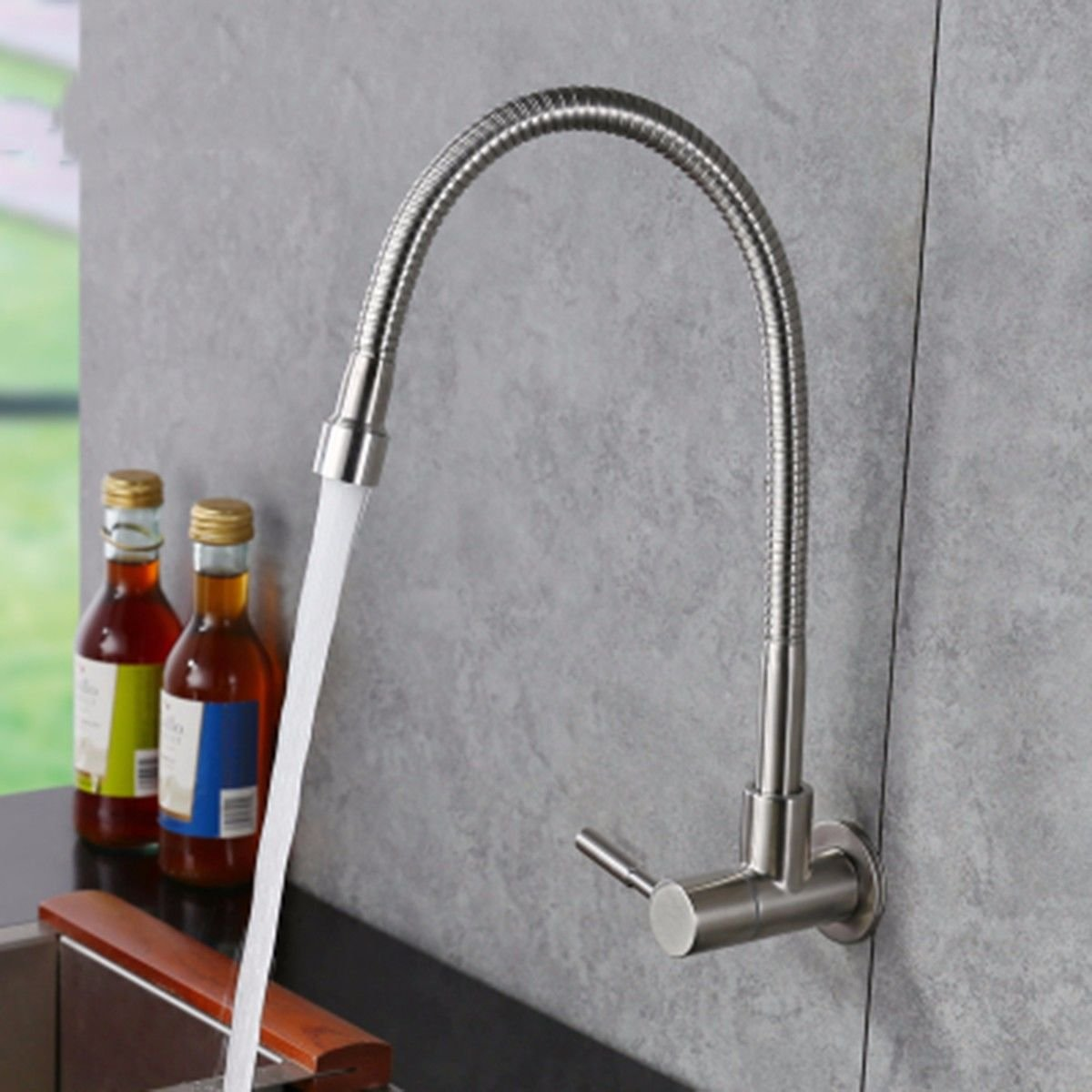 A Hlluya Professional Sink Mixer Tap Kitchen Faucet Stainless steel in the wall of the single cold balcony laundry pool and the pool kitchen washing dishes 盆 shower faucet,