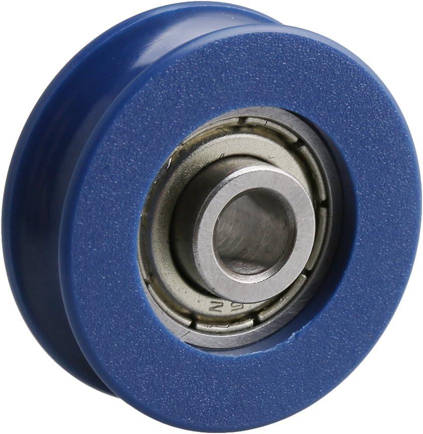 11mm Breite 3mm Tiefe U Nuss Schwarz Kunststoff F/ührungsrolle Rad mit Stahllager f/ür Max-/überleben 77kg Packung mit 4 st/ück