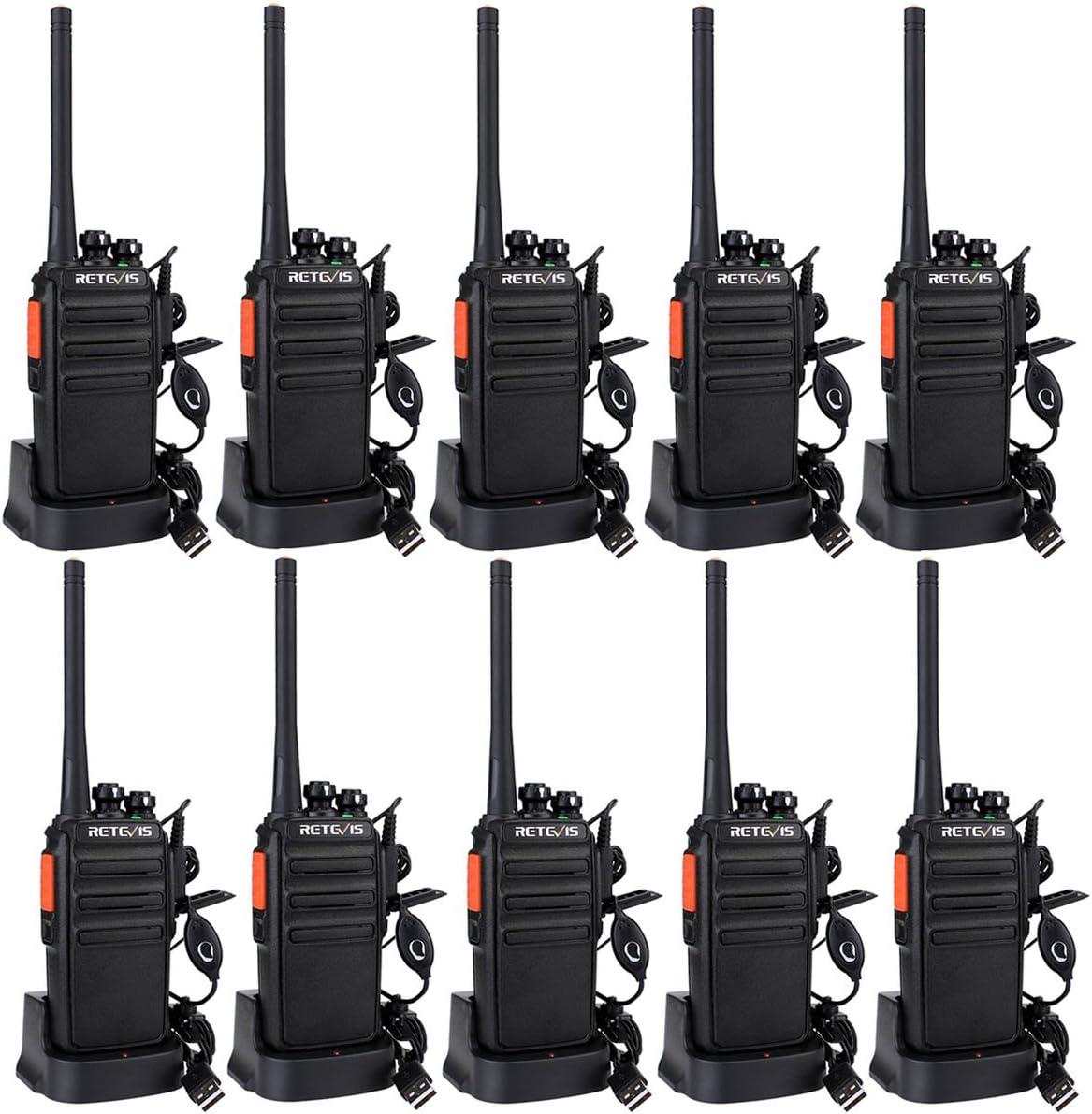 Retevis RT24 Walkie Talkie Profesionales PMR446 sin Licencia 16 Canales CTCSS DCS Walkie Talkie Recargable con Cargador USB Walkies Profesionales con Auriculars (5 Pares,Negro)