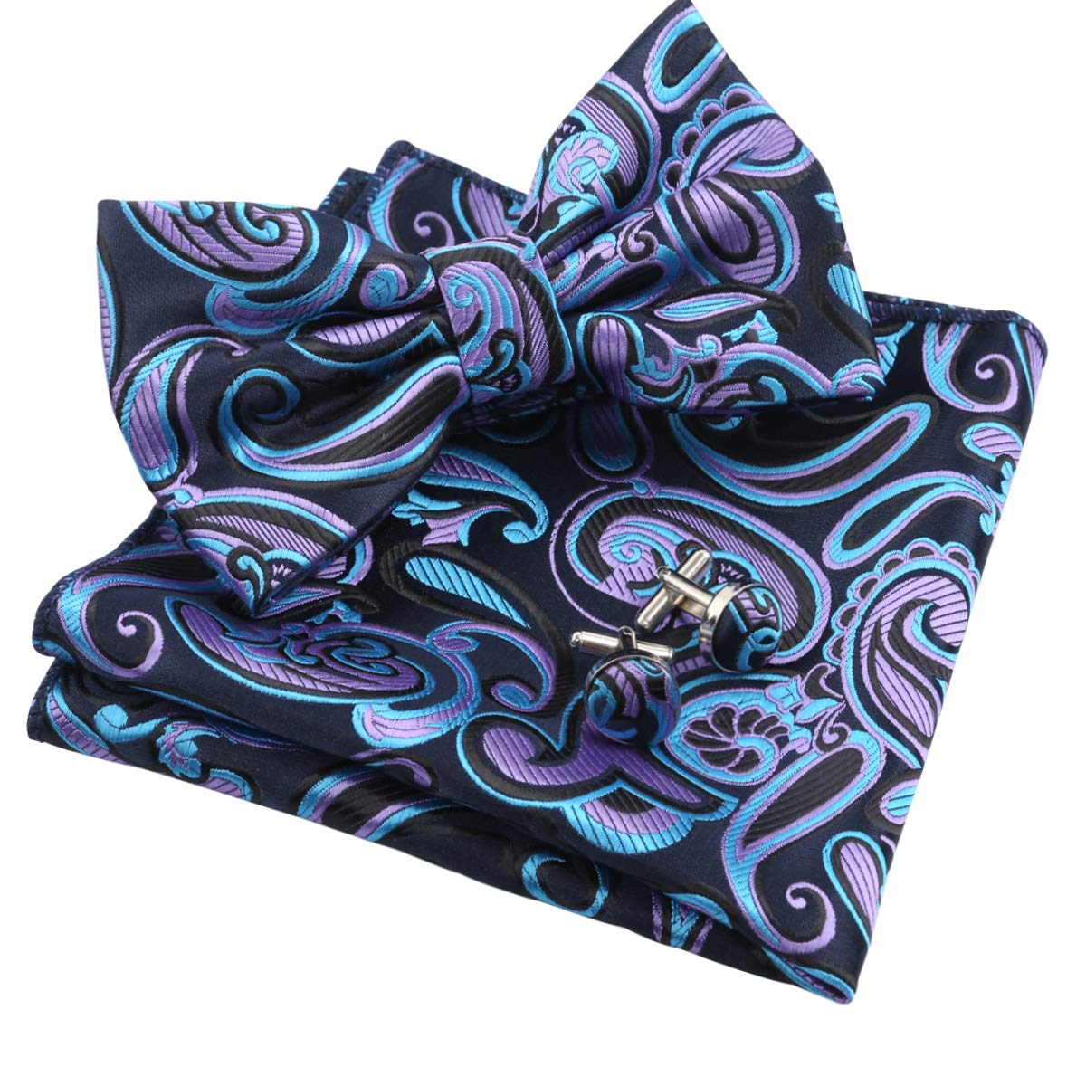 Hanky and Cufflinks Set Black+Blue+Hot Pink Alizeal Mens Floral Paisley Pre-tied Bow Tie
